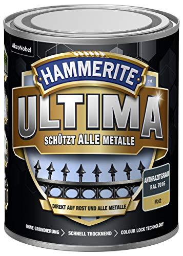 5379759 Hammerite ULTIMA Metallschutz Lack Rost 750ml Matt Anthrazitgrau RAL 7016