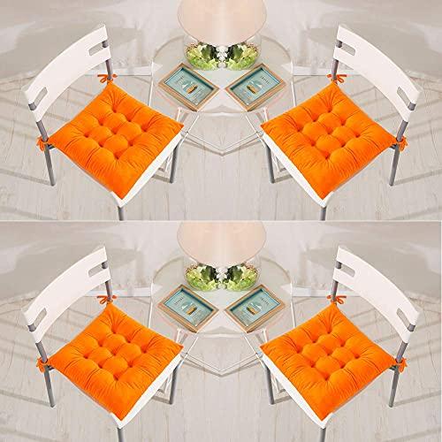 Juego de 4 Cojines de Silla 40 x 40 cm Cojines de Asiento con Lazos Terciopelo Suave Cómodo Cojines Cuadrados para Sillas de Comedor Cocina Sala de Estar Patio Jardín Interior Exterior Naran