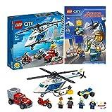 Lego City 60243 - Juego de caza de persecución con helicóptero de policía y juego de eniguantes Lego City para pequeños ayudantes