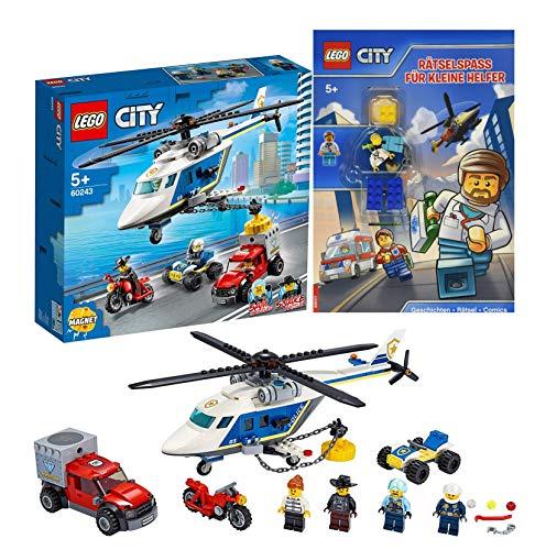 Lego City 60243 - Verfolgungsjagd mit dem Polizeihubschrauber + Lego City Rätselspaß für kleine Helfer