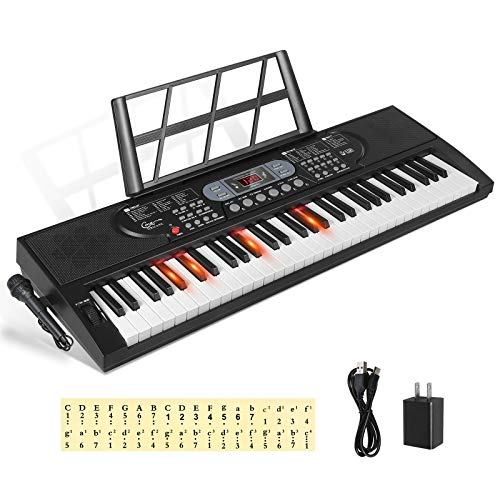 Hricane Keyboard Piano Lighted Keys for Beginner Adults Teens Kids 61 Key Electronic Music Keyboard with Teaching Modes Powered by USB or Battery with LCD Display Microphone Headphone Jack