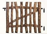 MC.Sammler Imprägniertes Tor Staketentor für Staketenzaun Gartentor aus Haselnussholz Flügeltor mit Scharniere inkl. Zubehör Breite : 100 cm Höhe : 90 cm