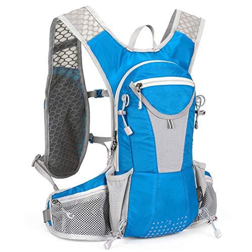 WWWL Mochila de hidratación impermeable para bicicleta, 12 l, para ciclismo, escalada, viajes, correr, portátil, bolsa de deportes al aire libre, bolsa de hidratación de 2 l, color azul