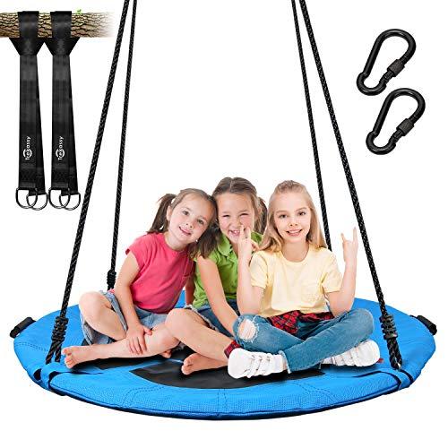 Trekassy 700lb Saucer Tree Swing for Kids Adults 40 Inch Textilene Wear- Resistant Waterproof Frame Includes 2 Tree Hanging Straps