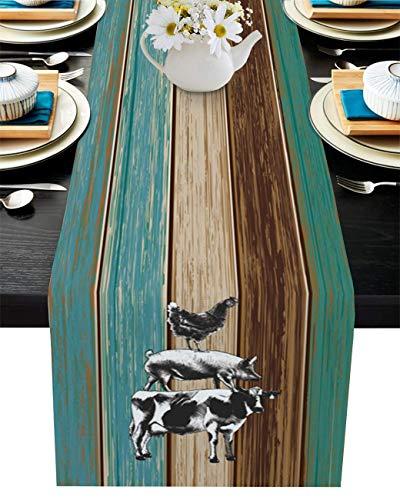 xdbgdfhdhdjdj Mesa de cocina de arpillera antideslizante con animales rústicos, vintage, verde azulado, grano de madera, duradero, 33 x 177 cm, para fiestas, cenas, granjas o mesas colección