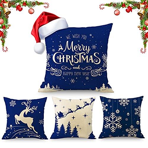 Juego de 4 fundas de cojín para decoración navideña, diseño de copos de...