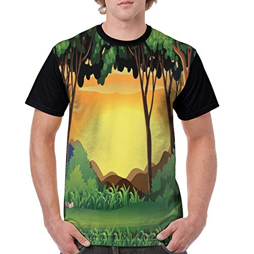 Man's T Shirts,Cartoon Sunset Over Hills Tree Spring Season Inspirations Green Bushes S