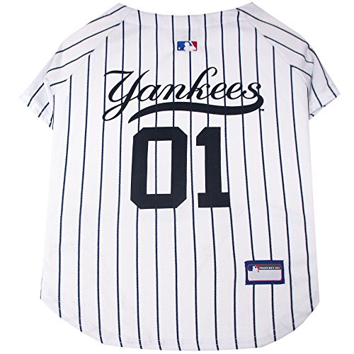 Pets First MLB New York Yankees Dog Jersey, Large. - Pro Team Color Baseball Outfit