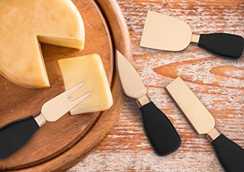 Hecef - Juego de cuchillos de queso, 5 unidades, acero inoxidable, para queso, cuchillos de queso y soporte de acrílico…