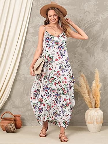ZANZEA Vestidos Largos Verano Cuello V Tallas Grandes Mujer Vestidos Fiesta Estampado Floral Vestido Playa Tirantes 01-Flor Rojo S
