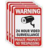 Faittoo 4 Pack No Trespassing Signs, Private Property Sign, Warning Sign, Video Surveillance Sign, 10 x 7 Inches 0.40 Reflective Aluminum, UV Protected, Weather Resistant, Durable Ink, Easy to Mount