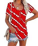 Camiseta De Manga Corta con Botones A Rayas Diagonales Y Cuello Redondo De Verano para Mujer
