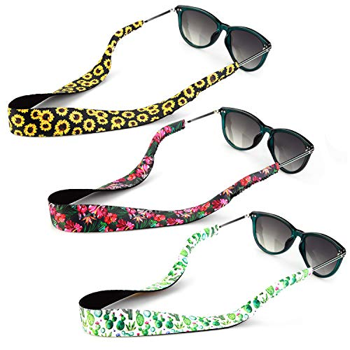 YR Sonnenbrillenriemen mit Blumenmuster, weiches und strapazierfähiges Neopren-Material, schwimmende Brillen-Halter, 3 Packungen. - - Mittel