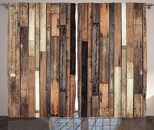 Ambesonne Wooden Curtains, Brown Old Hardwood Floor Plank Grunge Lodge Garage Loft Natural Rural...