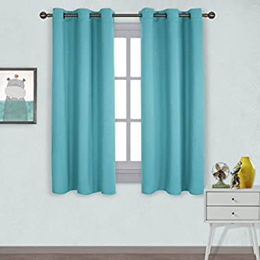 NICETOWN Window Treatment Thermal Insulated Solid Grommet Room Darkening Curtains/Drapes for Bedroom (Set of 2 Panels,42 by 63 Inch Long,Turquoise Blue)