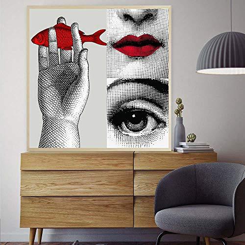 KELEXM Fornasetti Leinwanddruck Mauer Kunst Malen Malen nach Zahlen Poster und Drucke Leinwand Blumen Wandkunst Bilder Gemälde für Wohnzimmer Dekor 40 * 40 cm