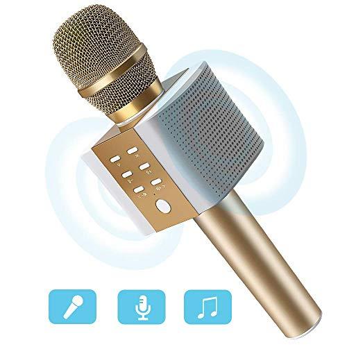 Micrófono Inalámbrico Karaoke Bluetooth 4.2 Portátil, 2x5W Altavoces para Karaoke, Batería de 2000mAh, Color Dorado