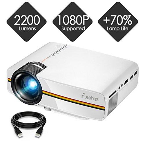 ELEPHAS Mini Proiettore a LED, supporta 1080P HD per HDMI / VGA / AV / USB / SD per TV, PC, laptop,auricolari, iPhone, film e videogiochi, bianco