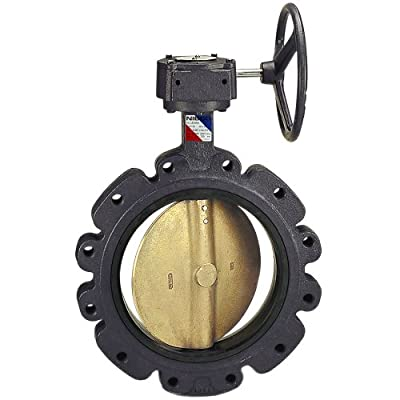 "NIBCO LD-1000-5 Series Ductile Iron Butterfly Valve with EPDM Liner and Aluminum Bronze Disc, Gear Operator, Lug, 16"" by NIBCO"