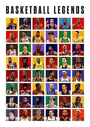All Basketball Legends Poster, Kobe Bryant, Kawhi Leonard, Russell Westbrook, LeBron James, Devin Booker, Top Players NBA League Superstars, Basketball Poster, Sports Art Print, Man Cave Gifts