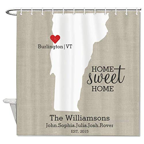 """yyone Fabric Shower Curtain with Hooks- Burlington State Love, Funny Shower Curtain Waterproof Mould Proof Resistant for Bathroom with 72"""" X 72"""""""
