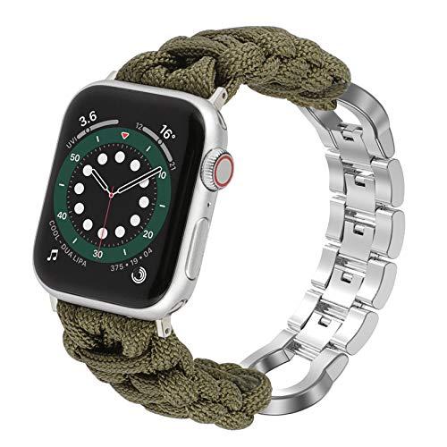 Wearlizer Correa de reloj de Paracord compatible con Apple Watch 42 mm 44 mm para iWatch Serie 6 5 4 3 2 1 SE, hecha a mano con hebilla de acero inoxidable, color verde