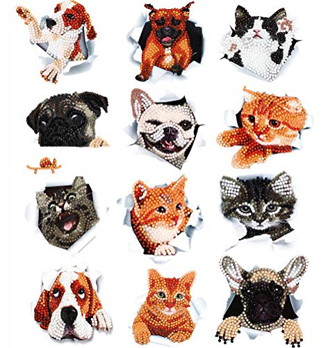 12Pcs DIY Diamond Painting Stickers DIY Diamond Art Craft Dog & Cat Painting with Diamonds Digital Diamond Paints for Children or Adult Beginners