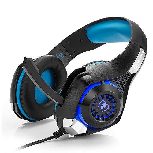 Auriculares Estéreo PS4 Montados En La Cabeza,Con Micrófono,Auriculares Envolventes,Con Conector USB 3.5,Adecuados Para Computadoras Portátiles,Computadoras De Escritorio,Escuchar Música,Jugar,Azul
