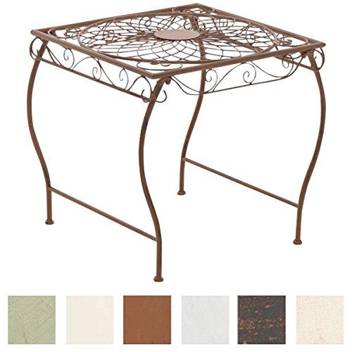 CLP Eisentisch Zarina Design I Robuster Gartentisch mit kunstvollen Verzierungen Antik Braun