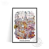 Cartel de viaje de la ciudad mundial, cartel de paisaje de edificios de Alemania, arte de pared de Holanda Amsterdam, decoración artística impresa de España Barcelona(LT-1117) 40x60cm Sin marco