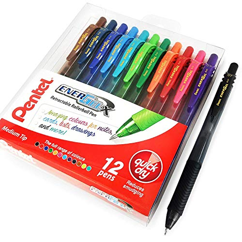 Pentel Energel X BL107 Lot de 12 stylos roller à encre gel rétractable, 1 de chaque couleur, 0,7 mm
