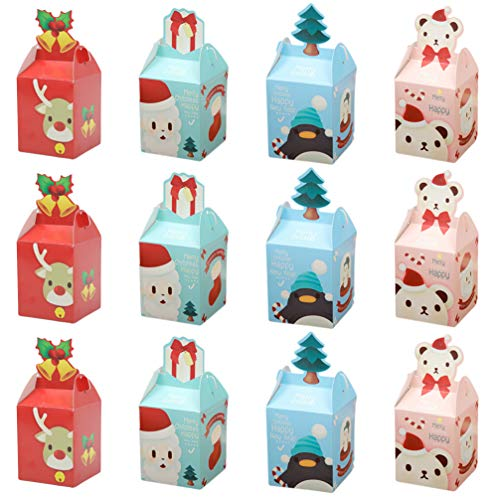 DOITOOL 12pcs Christmas Candy Boxes Paper Favor Gift Treat Box with Ribbon for Xmas Christmas Party Favors Supplies