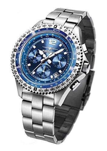 FIREFOX Fighter FFS05-103 Sunray blau Chronograph Herrenuhr Armbanduhr massiv Edelstahl Sicherheitsfaltschließe 10 ATM Prüfdruck