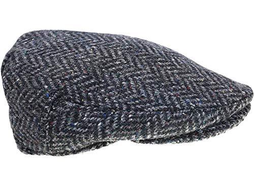 Biddy Murphy Men's Tweed Cap 100% Irish Wool Tweed Driver's Cap Charcoal Herringbone Fleck Made in Ireland Medium