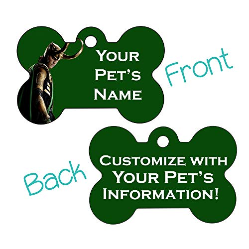 Marvel Disney Double Sided Pet Id Dog Tags | Personalized for Your Pet (Loki, Bone Shaped)