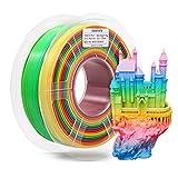 3D Printer Filament, Color Change Rainbow PLA Filament 1.75 mm Dimensional Accuracy +/- 0.02 mm, 1 KG Spool, PLA Rainbow Multicolor