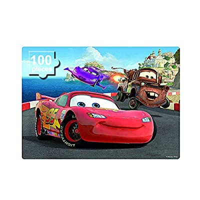 Disney Car Puzzles in a Metal Box 100 Piece Jigsaw Puzzles for Kids Ages 4-8 Puzzles for Boys and Girls Great Gifts for Children (Lightning mrqueen)