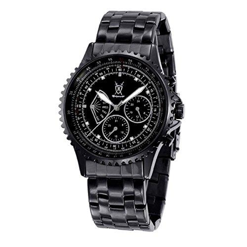 Konigswerk Mens Black Bracelet Watch Multifunction Crystal Markers SQ201458G