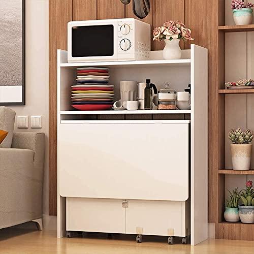 Mesa de comedor plegable multifuncional,mesa de cocina extensible con gabinetes,almacenamiento de múltiples capas de gran capacidad,rueda antideslizante giratoria de 360°,for comedor,cocina,etc.