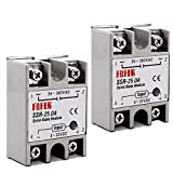 2pcs SSR-25DA Solid State Relay Single Phase Semi-Conductor Relay Input 3-32V DC Output 24-380V AC (SSR-25 DA) For Temp Controller Tool