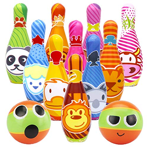 Dreamon Kids Bowling Set 10 Pins and 2 Balls with Storage Net Bag, Boys Girls Toddler Games Educational Bowling Toys Age 2 3 4