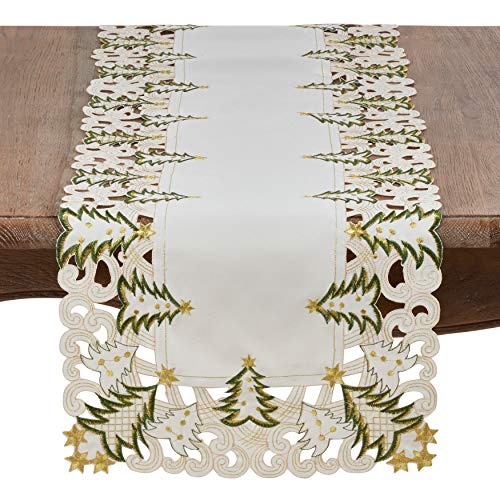 """SARO LIFESTYLE Pandoro Collection Polyester Holiday Runner With Christmas Trees Design, 16"""" x 90"""", Ivory"""