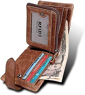 Men's Wallet Crazy Horse Leather Leather Short Section Anti-RFID Stolen Brush Double Zipper Wallet (Color : Brown, Size : S)