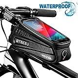 BTNEEU Bolsa Cuadro Bicicleta Impermeable con Pantalla Táctil, Bolsa Bicicleta Manillar Movil Bolsa Bicicleta Telefono Bolsa Tubo Bicicleta para iPhone Samsung Smartphone Menos de 6.5'' (Negro)