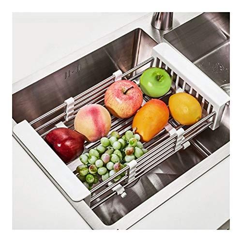 YQUC Drain Verstellbare Edelstahl Rüstkorb Kitchen Sink Organizer über Sink Ablaufbehälter Dish Gemüse, Obst, Trockengestell Regal (Color : Silver)
