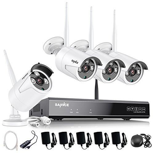 SANNCE Kit de seguridad Inalámbrica 4 Cámaras de vigilancia (Onvif H.264 CCTV 8CH 1080P NVR wifi y 4 cámaras 960P)-sin HDD