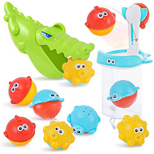 PEAINBOX Badewannenspielzeug mit 2 in 1 Basketballkorb & Fischernetz,Wasserspielzeug Kinder mit Krokodil Greifer und 9 Bälle,Badespielzeug Baby ab 1 2 3 Jahre
