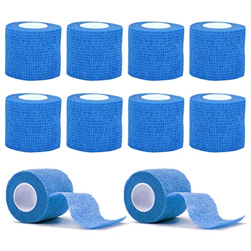 VideoPUP Tattoo Grip Cover Wrap,10PCS Disposable Cohesive Tattoo Grip Cover Elastic Bandage Handle Grip Tube for Tattoo Machine Tattoo Grip Accessories(Blue)