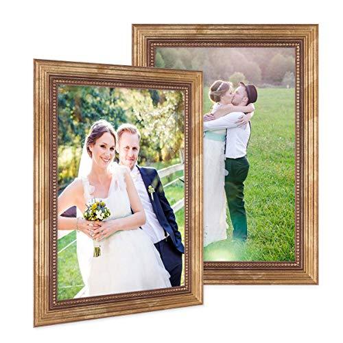 PHOTOLINI 2er Set Bilderrahmen 21x30 cm/DIN A4 Gold Barock Antik Massivholz mit Glasscheibe und Zubehör/Fotorahmen/Barock-Rahmen