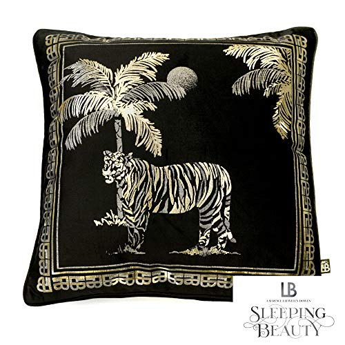 Laurence Llewelyn-Bowen - Tiger Tiger - Luxury Velvet Filled Cushion - 43x43cm (17x17') in Black